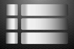 Steel labels vector on the black embossed sheet background - stock illustration
