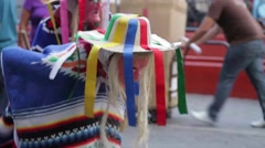 Street Performers in Colorful Dresses Stock Footage