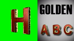 rendered on green chromakey loop golden and red wood letter h - stock footage