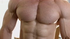 Muscular torso. Strong man's torso. Stock Footage