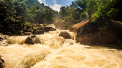Stormy Stream of Mountain River among Rocks Green Slopes Stock Footage