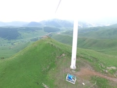 Aerial of windfarm in China - stock footage
