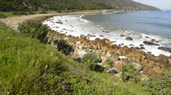 Scenic view along the coastal road at the back of famous Table Mountain - stock footage