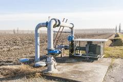 Irrigation water pumping system Stock Photos
