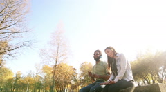 Couple listening to music on headphones while hanging out in park Stock Footage