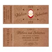 Ticket for Wedding Invitation with wedding golden ring in a red box - stock illustration