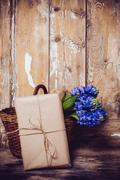 Hyacinth on a vintage wooden board Stock Photos
