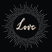 Retro sunburst with love lettering Stock Illustration