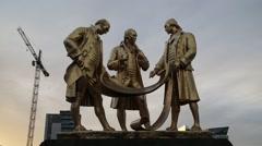 Boulton, Murdock and Watt Statue, Broad St Birmingham (1956) - stock footage