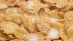 Fresh corn flakes with sugar and milk Stock Footage