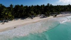 Aerial View from the beach at Saona Island / Dominican Republic Stock Footage