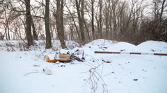Rubbish in the forest winter Stock Footage