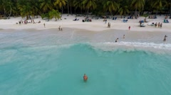 Aerial view and selfie ascending at Saona island Stock Footage