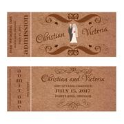 Ticket for Wedding Invitation with bride and groom pastel silhouettes - stock illustration