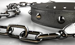 Leather Studded Collar And Chain Stock Illustration