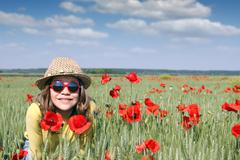 happy little girl spring season - stock photo