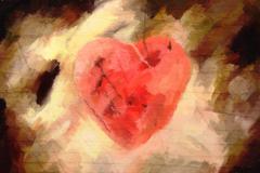 grunge valentine card - stock illustration