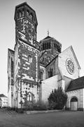 Black and white view of the catholic Herz-Jesu church in Aachen Burtscheid, G Stock Photos