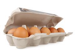 Ten fresh eggs - stock photo
