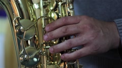 Sax man singing passionately during a performance 02 - stock footage