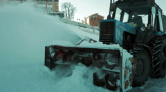Snowplow removes a lot of snow. Close-up Stock Footage