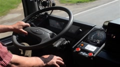 Driver of a bus during a field trip with students or carrying laborers 02 Stock Footage
