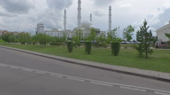 Driving past Hazrat Sultan Mosque in Astana Stock Footage