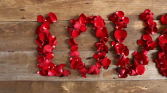 Valentine's Day, HD Footage Dolly of red rose petals in love word Stock Footage