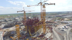 Drone zoom out of construction site - Astana Stock Footage