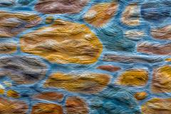 Stock Photo of Painted Colorful Stone Wall