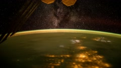 Milkyway & Aurora Borealis shot from International Space Station (ISS) Stock Footage