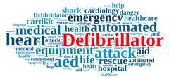 Word cloud relating to Defibrillator. Stock Illustration