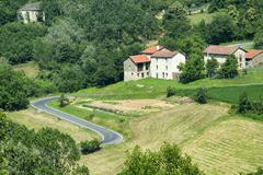 Langhe, landscape in Piedmont (Italy) - stock photo