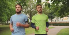 Twin Athletes Jogging Stock Footage
