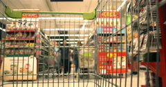 Shopping Cart in Supermaket - stock footage