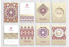 Purple, pink vintage frames, ornaments, patterns and golden backgrounds - stock illustration
