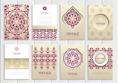 Dark pink, red frames, ornaments, patterns and golden backgrounds - stock illustration