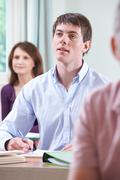 Young Man In Adult Education Class Stock Photos
