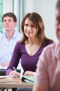 Mature Woman In Adult Education Class Stock Photos