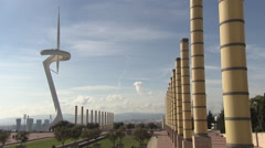 "Barcelona ""Needle"" by Calatrava with nice sky Stock Footage"