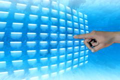 Finger pushing button Stock Illustration