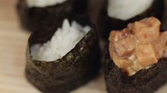 Preparing sushi hand Stock Footage