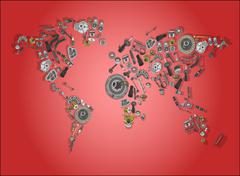 World map made up of spare parts Stock Illustration