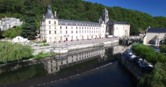 Stock Video Footage of Aerial view of Benedictine Abbey of Brantome and river, France