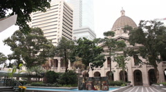 Stock Video Footage of Statue Square colonial buildings Hong Kong