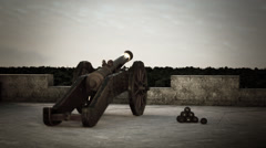 Old Cannon Defending Fort Stock Footage