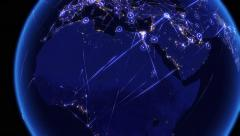 Global communications through the network of connections over Africa. Stock Footage