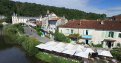 Stock Video Footage of Benedictine Abbey of Brantome and river and surrounding