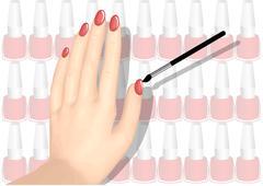nail polish and hand - stock illustration