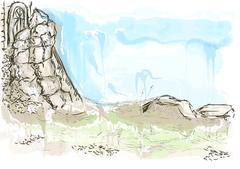 historic ruins - stock illustration